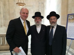 Ambassador Petr Gandelovic; Rabbi Shlomo Braun and Rabbi Yitzchok Fleischer